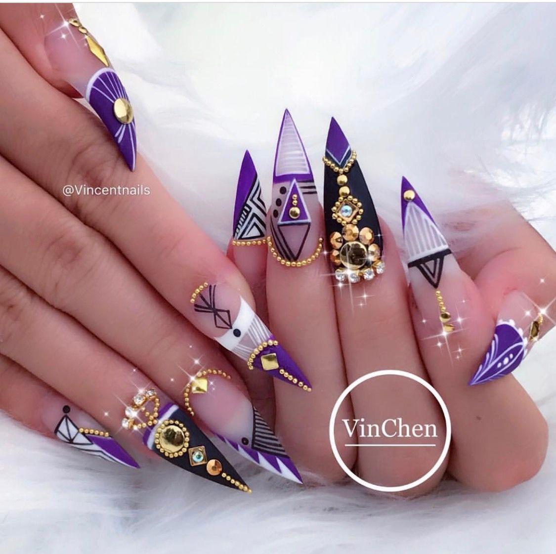 Abstract nail designs on stiletto / point nails. - Pin By Elena Aguiñaga On Claws Pinterest Nail Nail, Makeup And Pedi