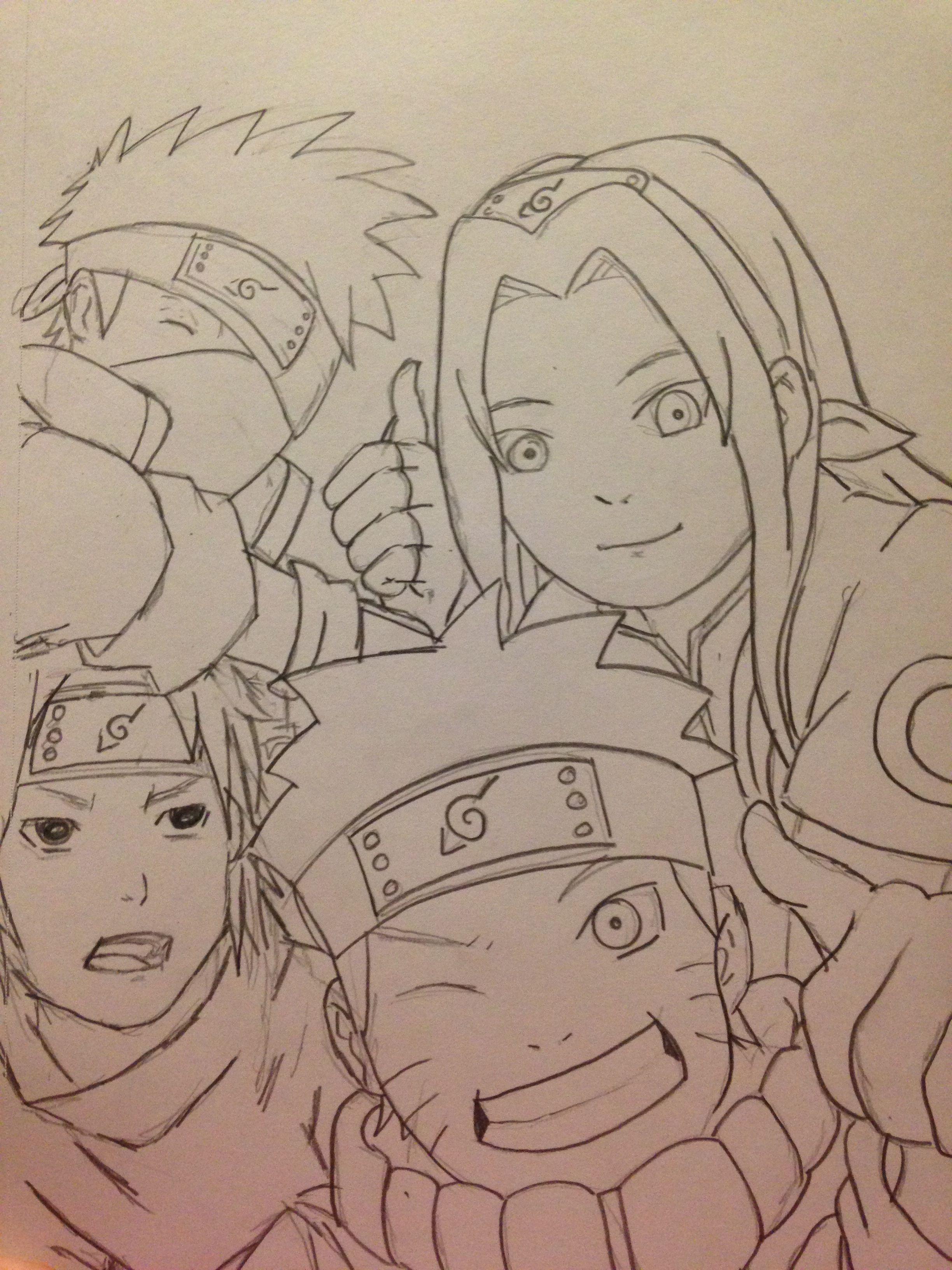 Naruto Team 7 Outline Sketch Naruto Drawings Sketches Drawings
