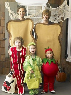 breakfast food halloween costume toast bacon and fruit family