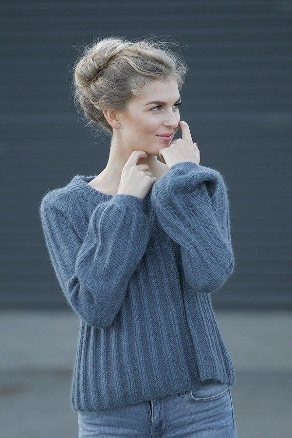 PIA PUMPKIN Jeansblå Oppskrift strikkegenser dame | Genser