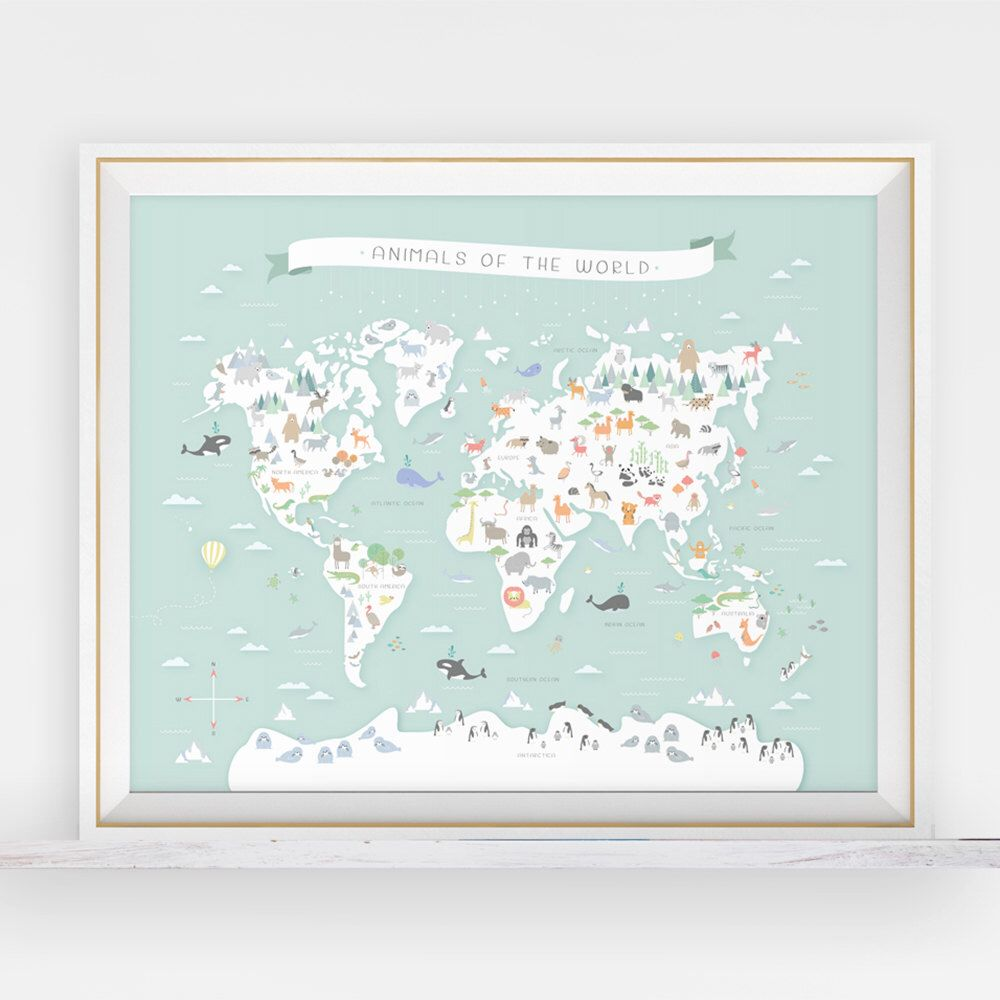 Animal world map instant download map nursery art my first map animal world map instant download map nursery art my first map map of the world world map animals around the world animal print by llamacreation on gumiabroncs Image collections