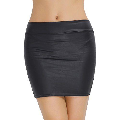 f0b6f5c970cd Tiaobug Femme Mini Jupe Moulante Noir Mat Taille Haute Courte Jupe  Imitation Faux Cuir Mini Robe