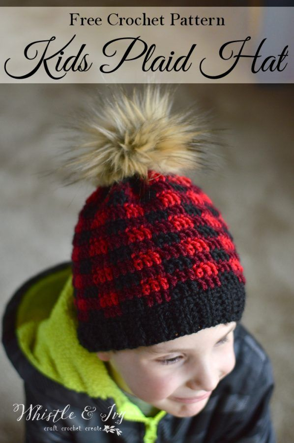 FREE Crochet Pattern  Crochet Plaid Hat for Kids and Toddlers! Now 83ed82ebd8f8