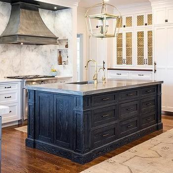 amazing white cabinet kitchen islands | Amazing kitchen with a blue oak kitchen island, white ...