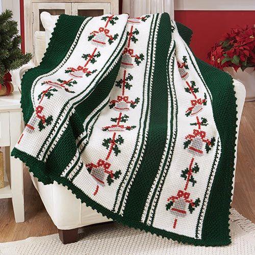 Red Heart Silver Bells Christmas Afghan Crochet Afghan Kit
