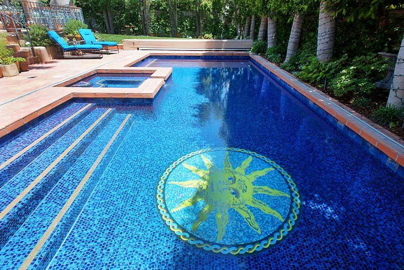 Wonderful sun mosaic mural installation in a pool. http://www ...