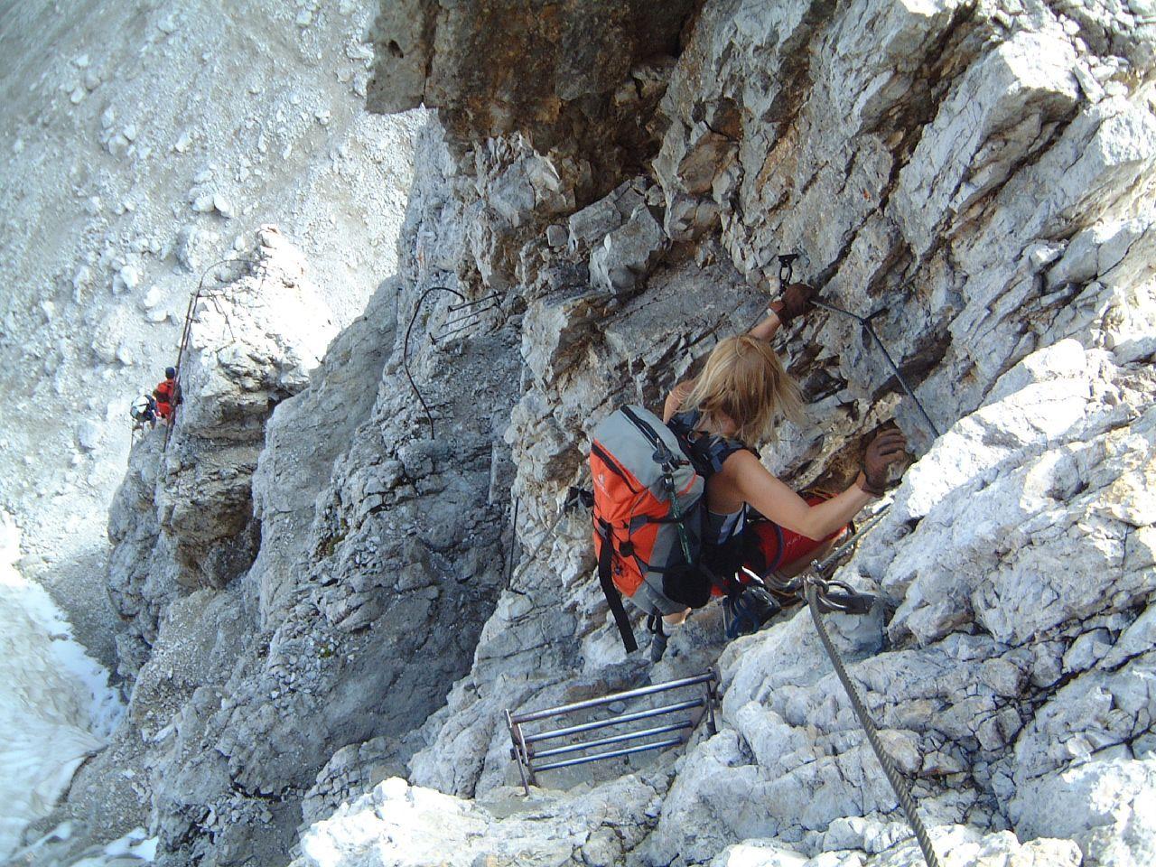 Climbing Via Ferrata, Dolomites, Italy.