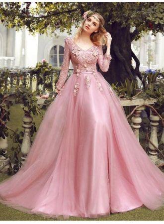 elegant rosa abendkleider spitze mit Ärmel tüll abiballkleider abendmoden online in 2020
