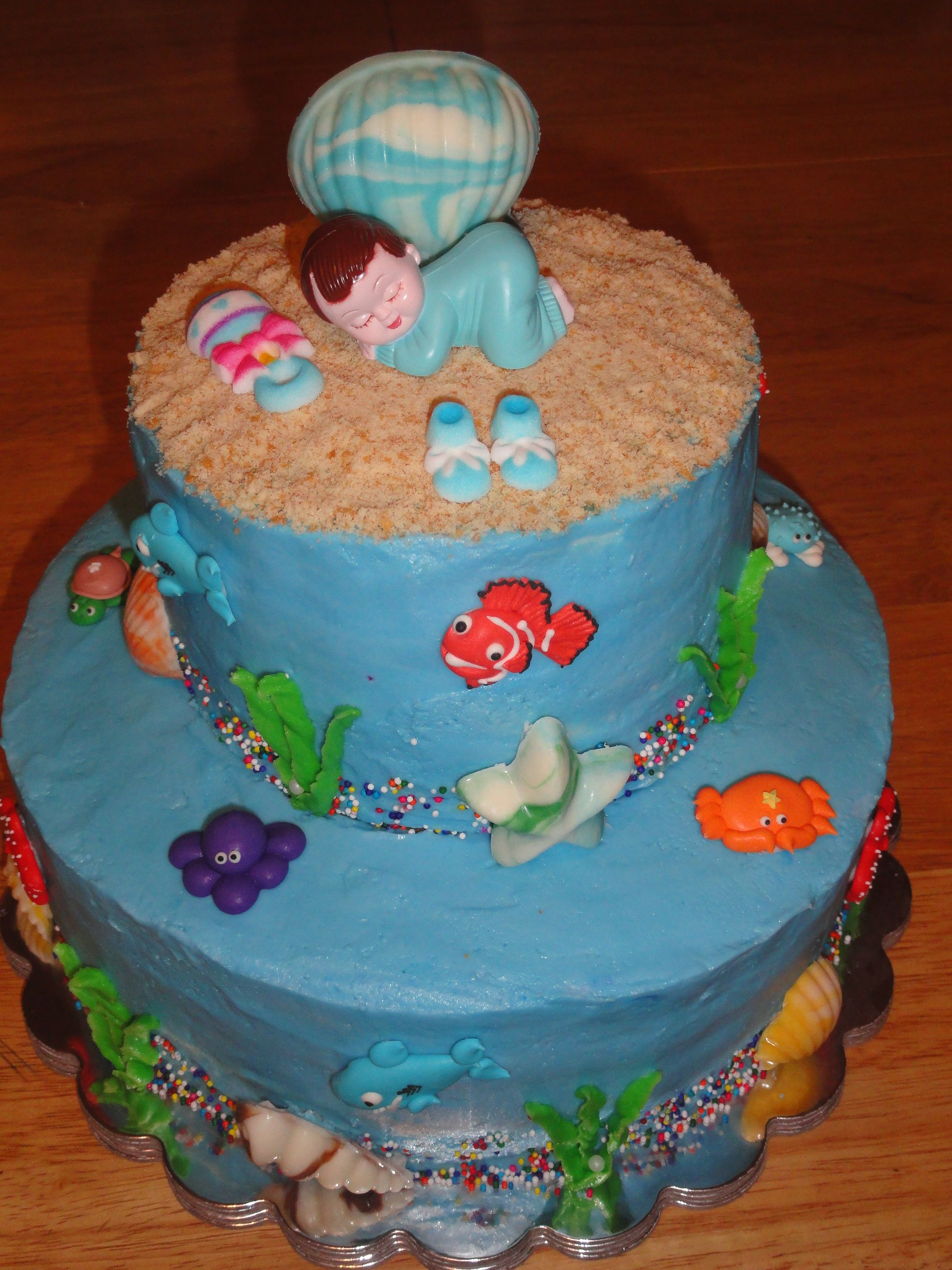 ocean theme baby shower cake made for friend cakes cake decorating
