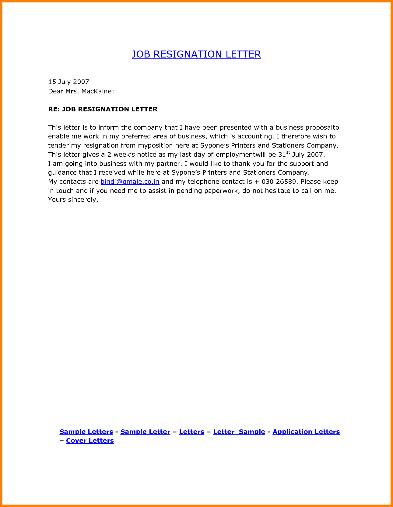 Job Resign Letter Format Pdf Ledger Paper Resignation Cover Quit