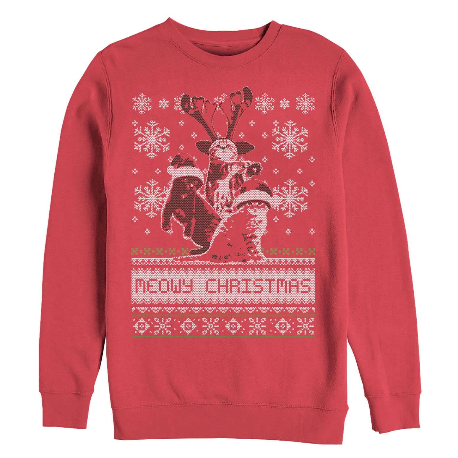 Christmas Extra suggest Women\'s Meowy Cat Ugly Christmas Sweater Red ...