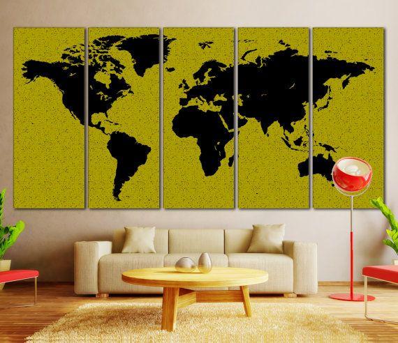 Map Canvas Print, World Map Modern Art, Watercolor Map, Watercolor ...