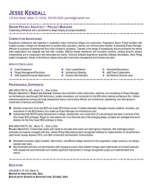 Example Project Architect Resume - http\/\/topresumeinfo\/2015\/02 - sample resume with objectives