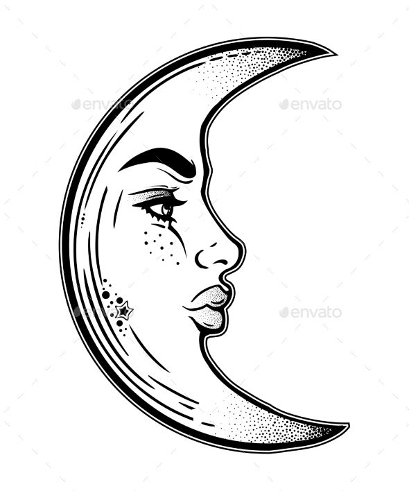 Half Crescent Moon With Face Tattoo: Romantic Elegant Crescent Moon As A Beautiful Woman Face