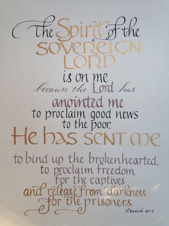 Isaiah 61 1 Ordination Gift, Seminary Graduation, Pastor Gift, Priest Gift Colors of your choice Hand Lettered heavy watercolor paper