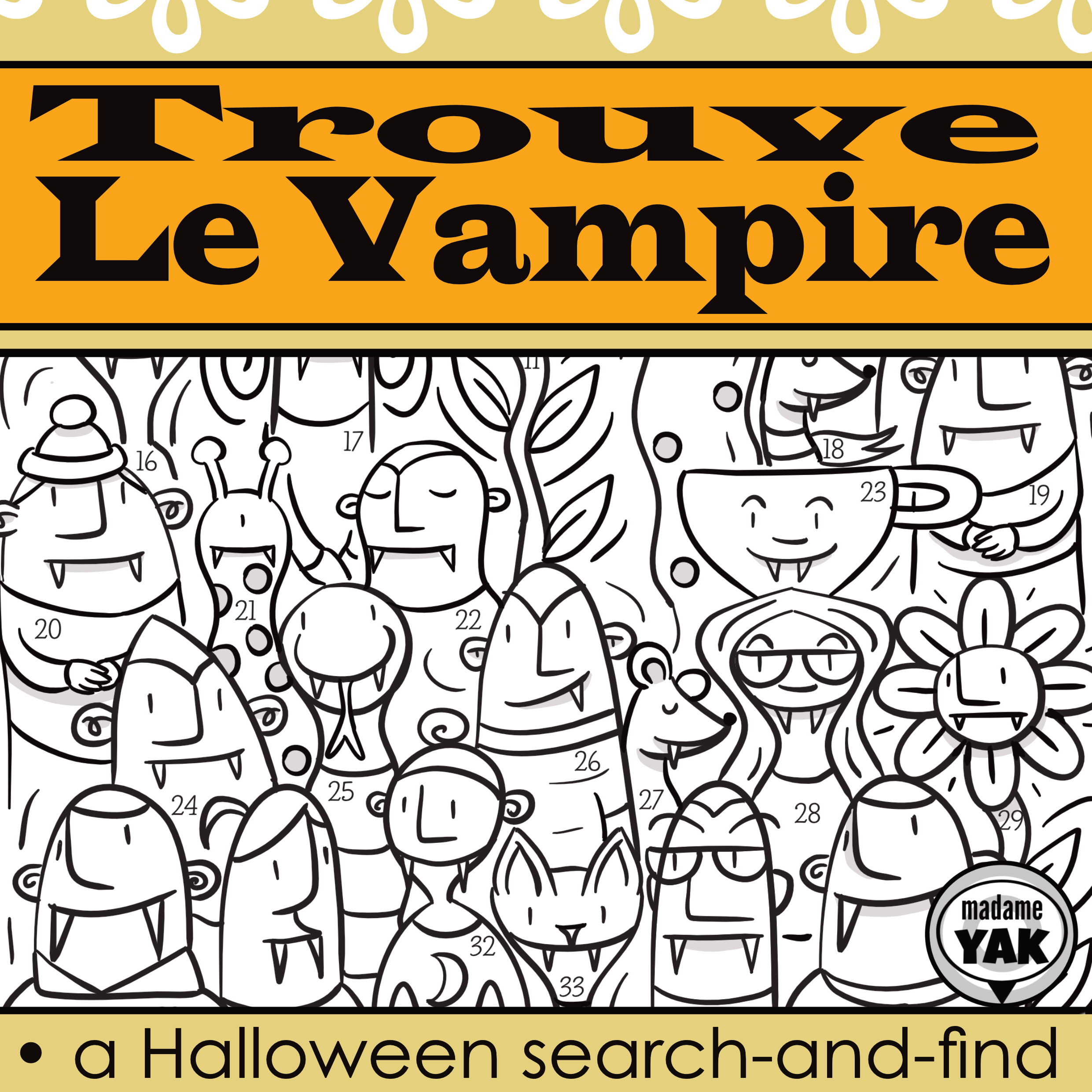 Trouve Le Vampire French Search And Find Halloween