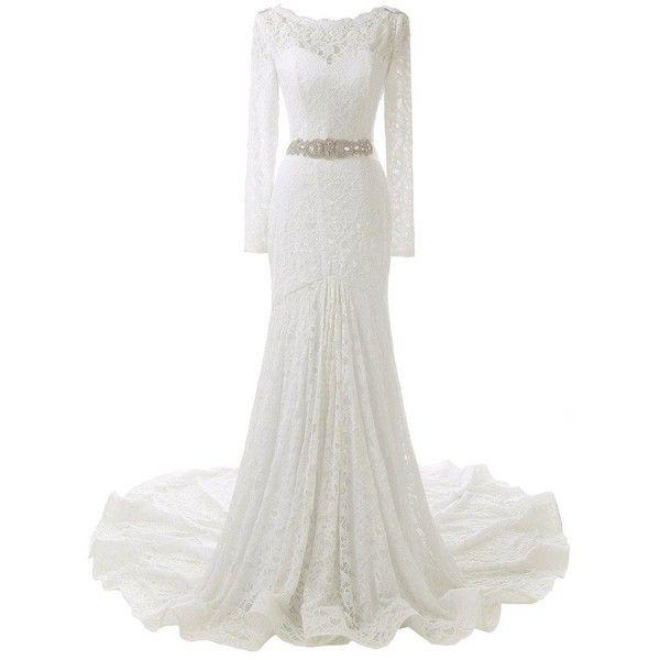 Solovedress Women S Long Sleeves Lace Wedding Dress Mermaid Bridal 21