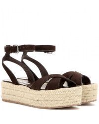 Miu Miu Platform Suede Sandals brown - Lyst