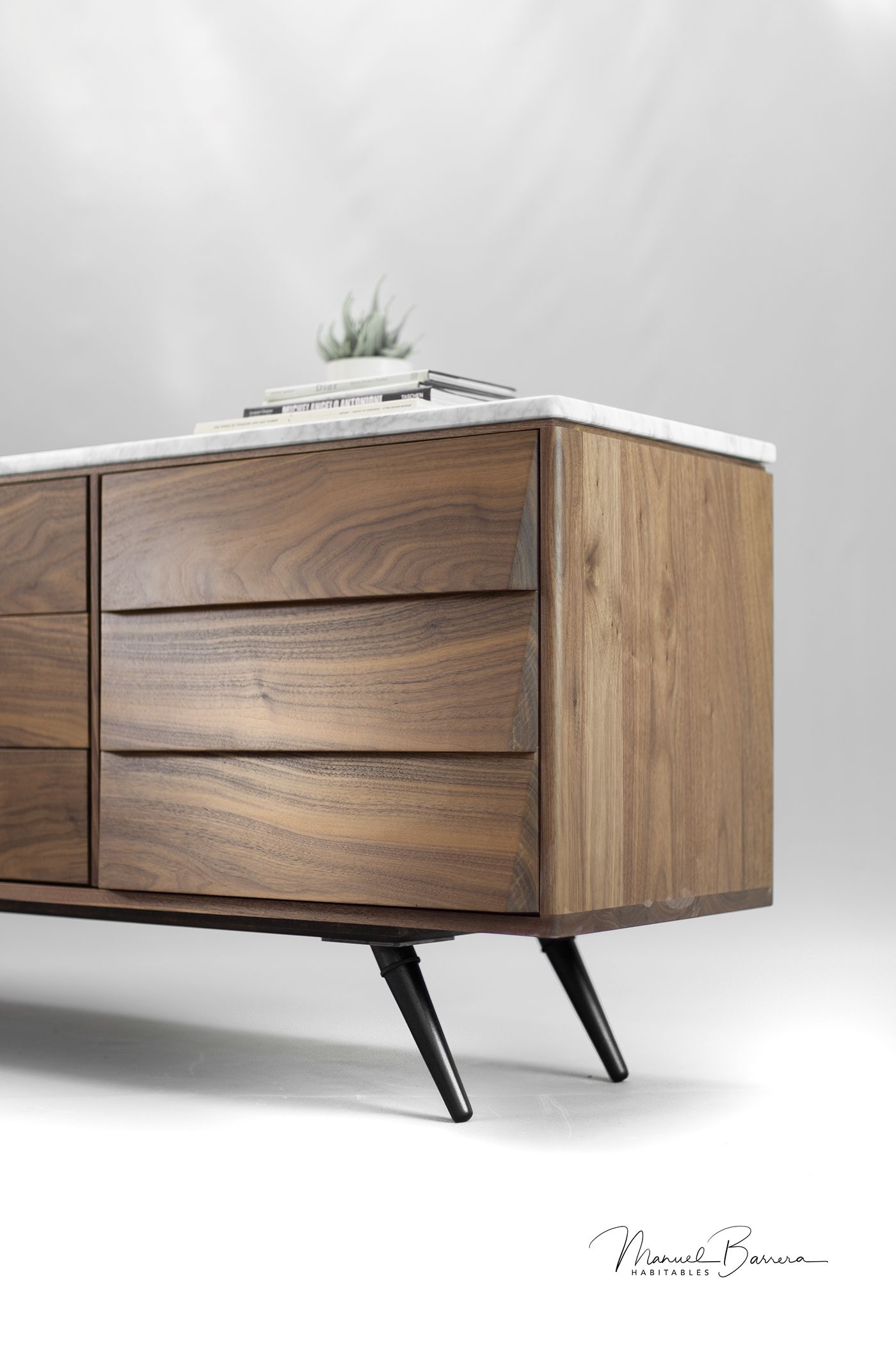 Walnut And Marble Sideboard On Behance Sideboard Marble Sideboard Furniture Oak Furniture