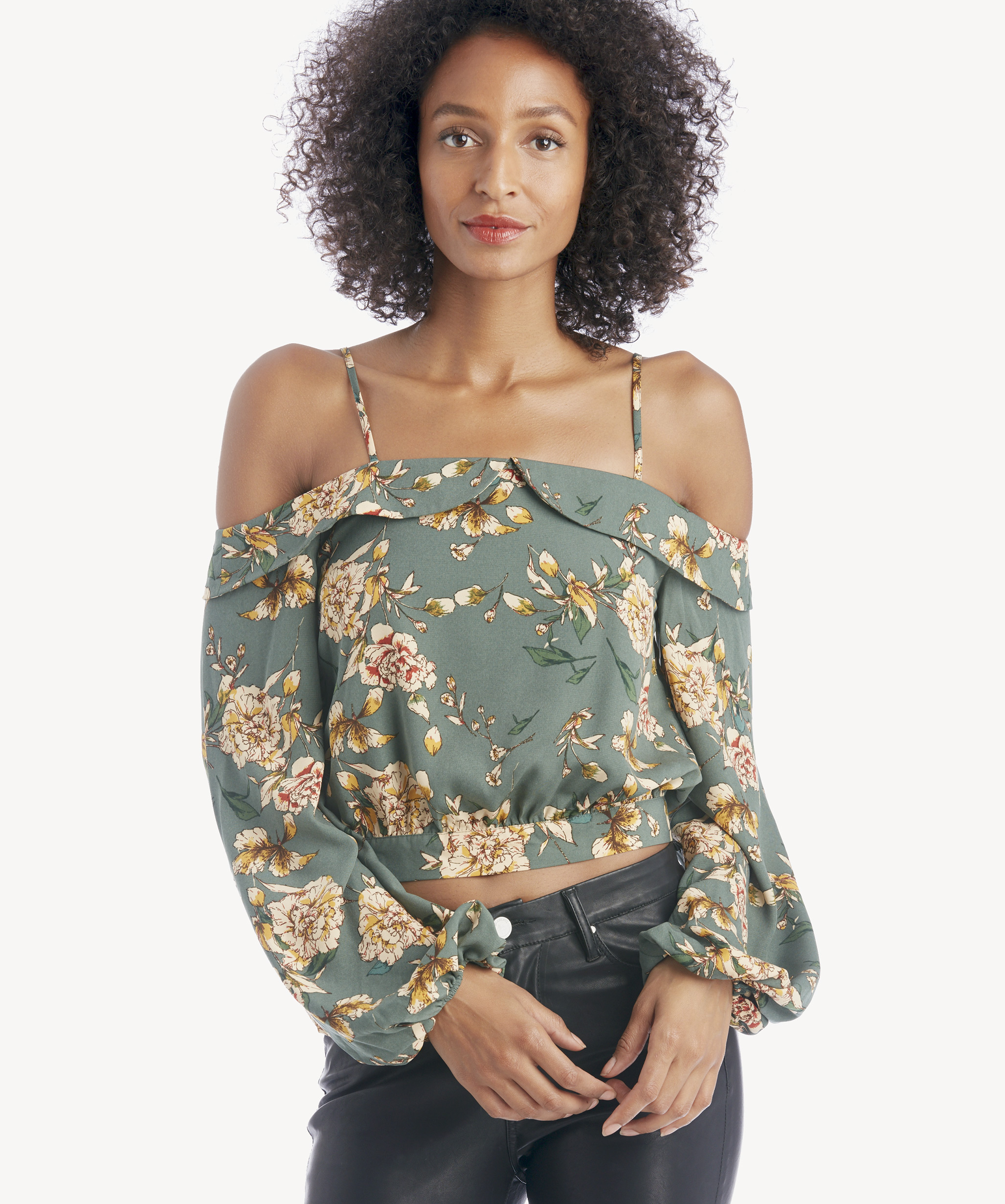 76a299eea8b J.O.A. Women's Cold Shoulder Puff Sleeve Top In Color: Green Floral   Size  XS From Sole Society