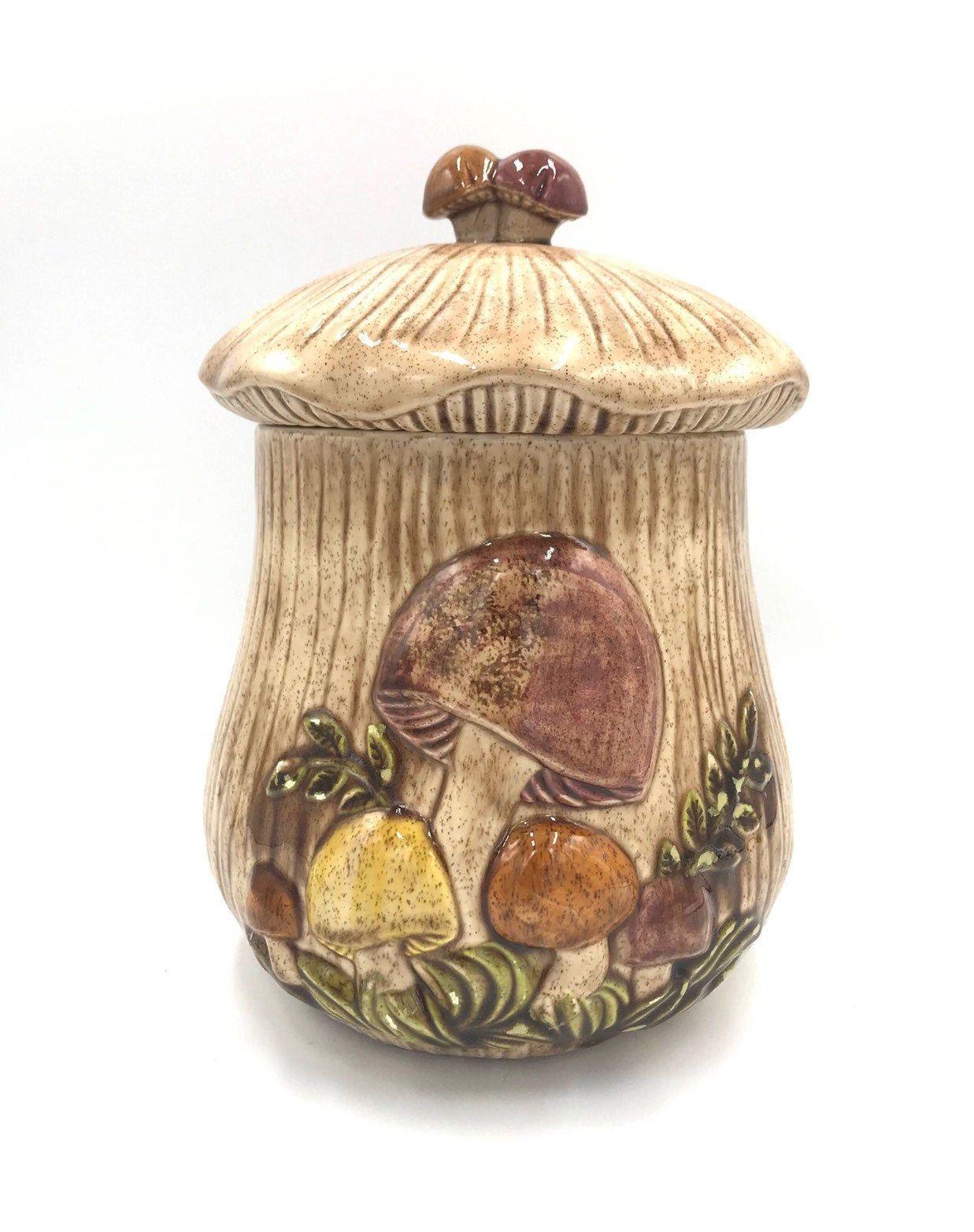 """Retro Arnel's Merry Mushroom Canister, Large 11"""", Arnel"""
