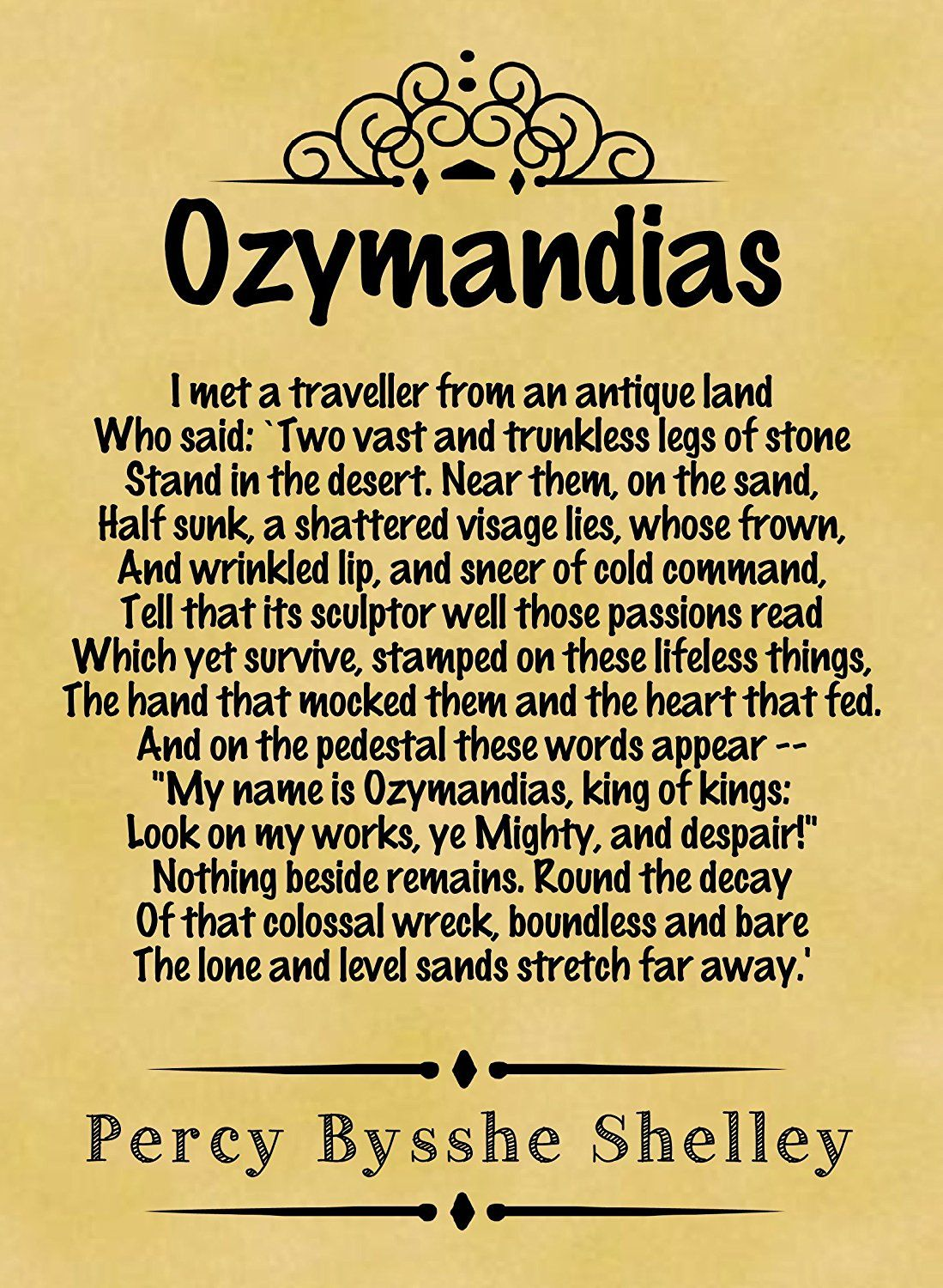 Percy bysshe shelley quotes quotesgram - Amazon Com A4 Size Parchment Poster Classic Poem Percy Bysshe Shelley Ozymandias Prints