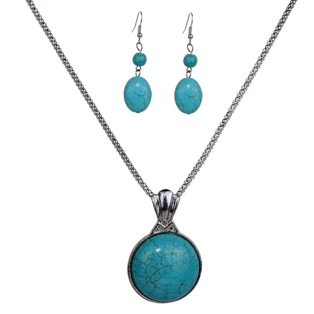 YAZILIND New Design Jewelry Sets Tibetan Silver Pendant Necklace Water Drop Earrings Set Jewellery For Women VDEQ1JTIE