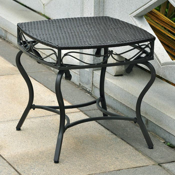 Small Wrought Iron Outdoor Side Table