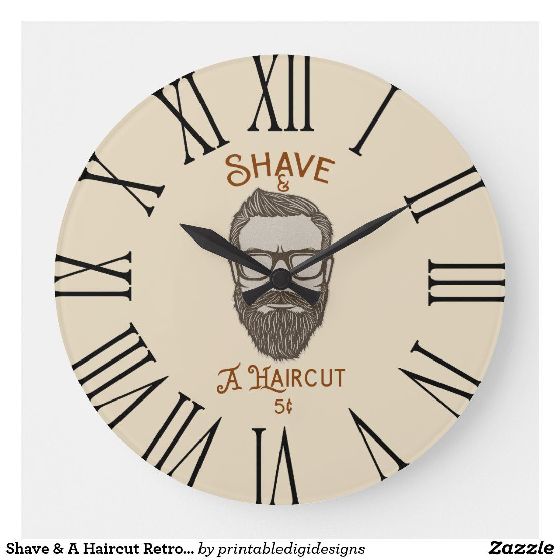 Shave A Haircut Retro Barber Shop Graphic Type Large Clock Zazzle Com In 2020 Barber Shop Large Clock Clock