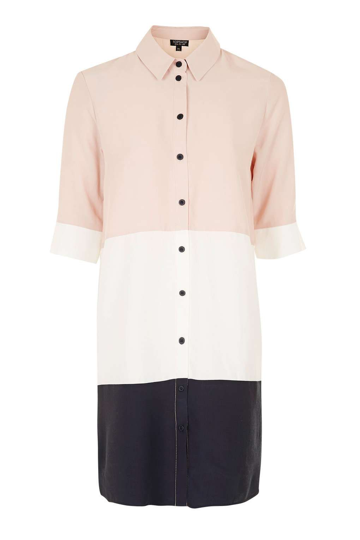 Pink dress topshop  Oversized Colour Block Shirt Dress  Style  Pinterest  Color