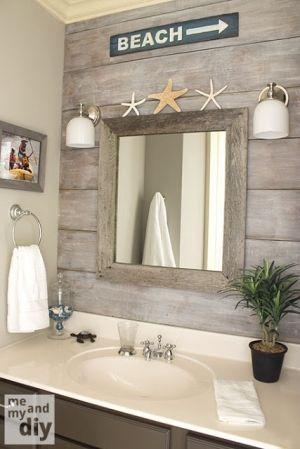 Beach Inspired Bathroom By Sacagawea Faux Paint Behind Sinks