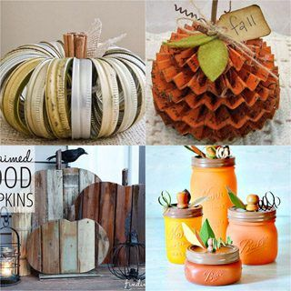 20  best DIY pumpkin decorations for Thanksgiving, Halloween & fall. How to up-cycle cans, jars, paper, fabric, or wood to make gorgeous pumpkins for free! - A Piece of Rainbow #fall #falldecor #autumn #pumpkin #pumpkindecorations #papercrafts #crafts #crafting #craftsforkids #diy #homedecor #homedecorideas #diyhomedecor#halloweendecorations #halloween #thanksgiving #farmhouse #farmhousestyle #farmhousedecor #kidscraft