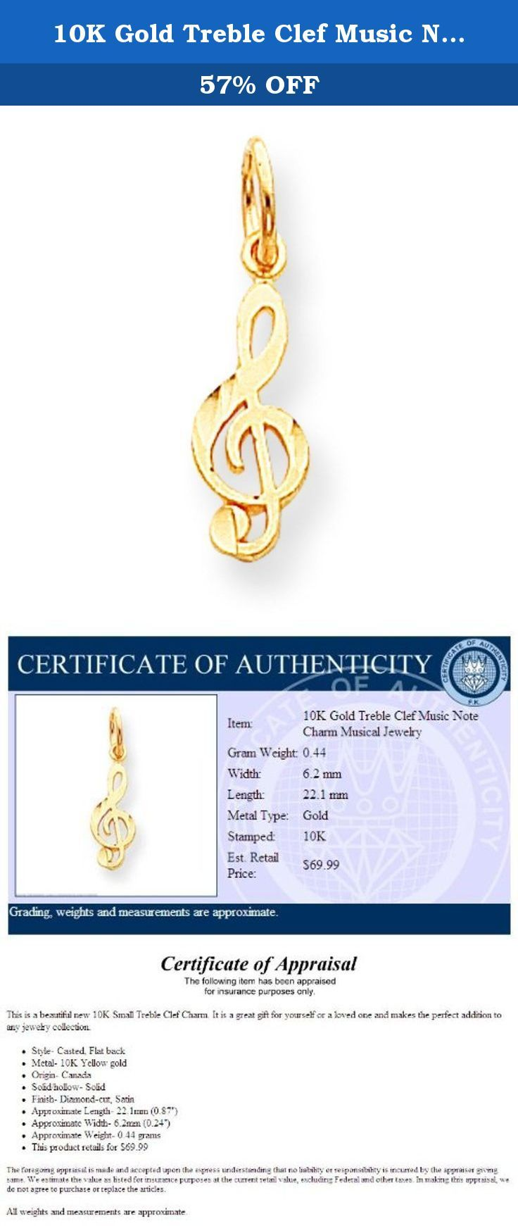 K gold treble clef music note charm musical jewelry this is a
