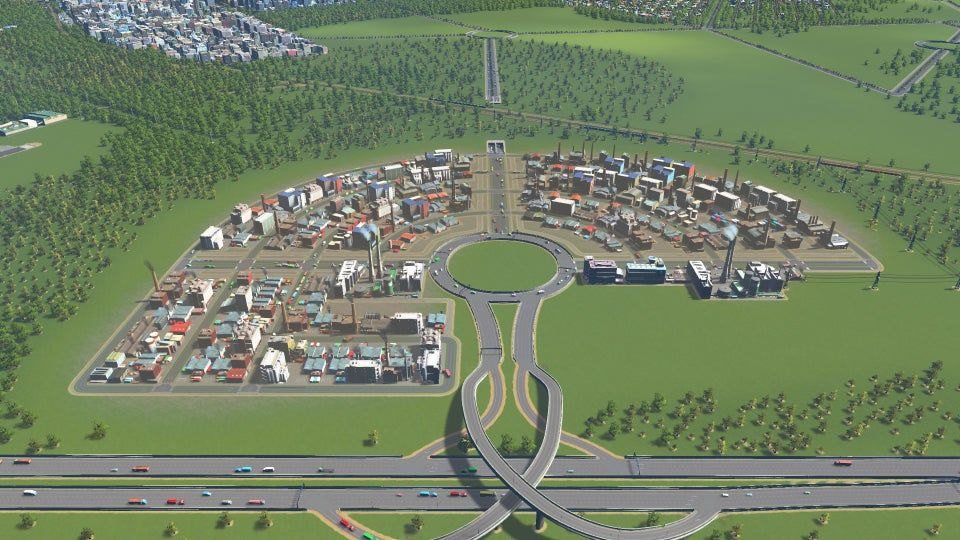 Industrial Zone Layout It Surprisingly Works Well Citiesskylines In 2020 City Layout City Skylines Game City Maps Design