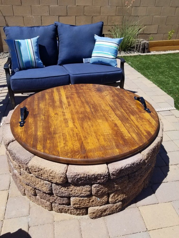 A Unique Way To Cover An Outdoor Fire Pit When Not In Use Just A