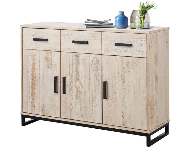 Sideboard SATURN 3 Türen Kiefer massiv in weiß gewischt Dekoration - küchenwagen mit schubladen