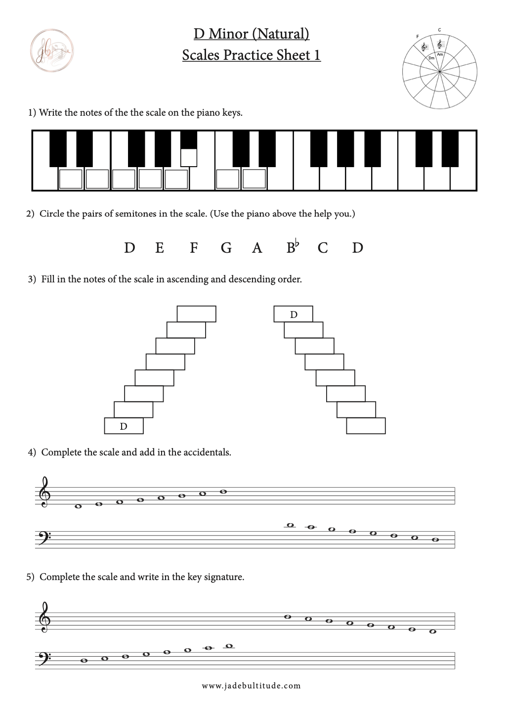 D Minor Natural Free Music Theory Worksheet Music