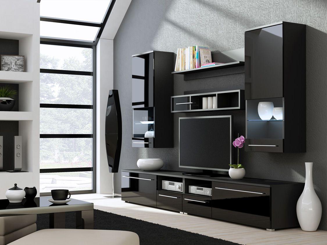 Modern Media Wall Units Kansas 3  High Gloss Black Tv Wall Unit  Gadgets And Tech