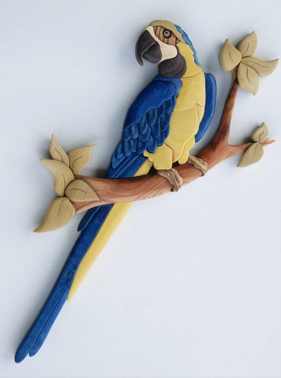 Wall Hangings Etsy macaw (blue and gold) parrot intarsia wall hanging bird wood
