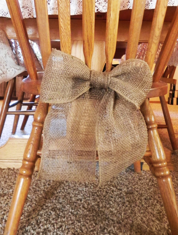 Burlap Bow Wedding Decoration (chairs) Curtain Tie Back Wreath