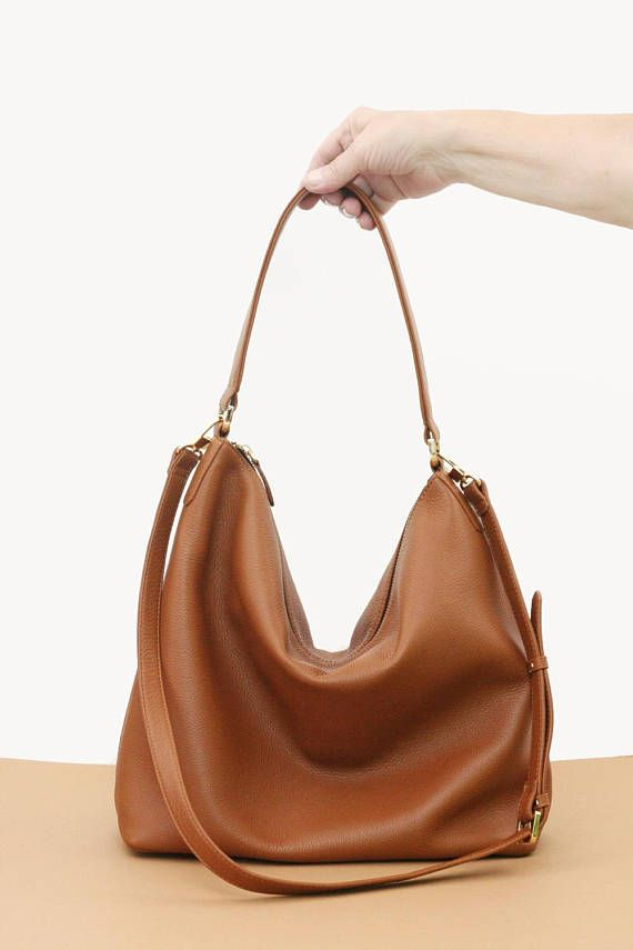 9b6e228bec NELA hobo leather bag in tan   camel brown ❥ Buttery soft leather! ❥ This  tan leather hobo bag is made from high quality pebbled Italian leather and  is ...