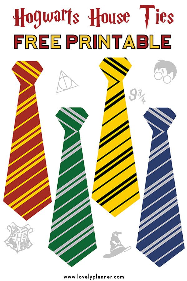 Free Printable Hogwarts House Ties for your Harry Potter Party images