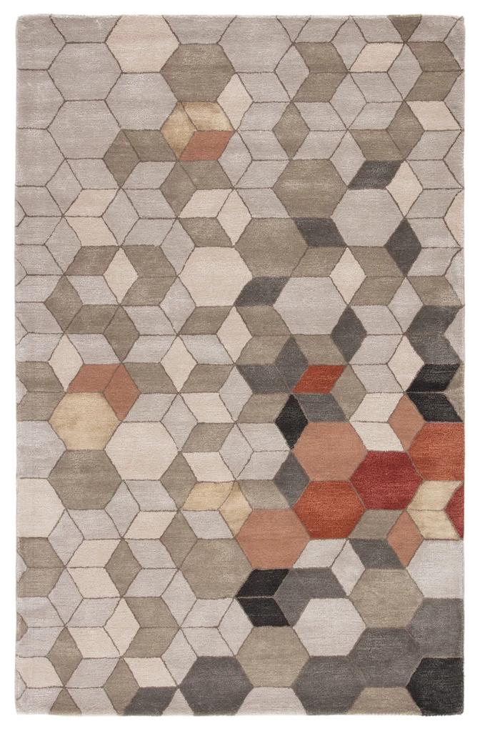 Combs Handmade Geometric Light Gray Orange Area Rug Modern