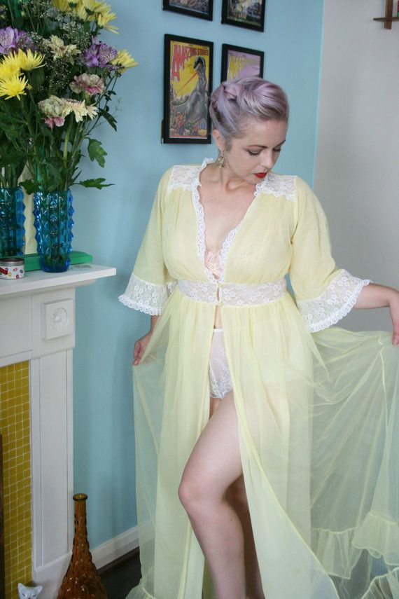 pretty vintage 70s Sheer Lemon Yellow Dressing Gown with lace by ...