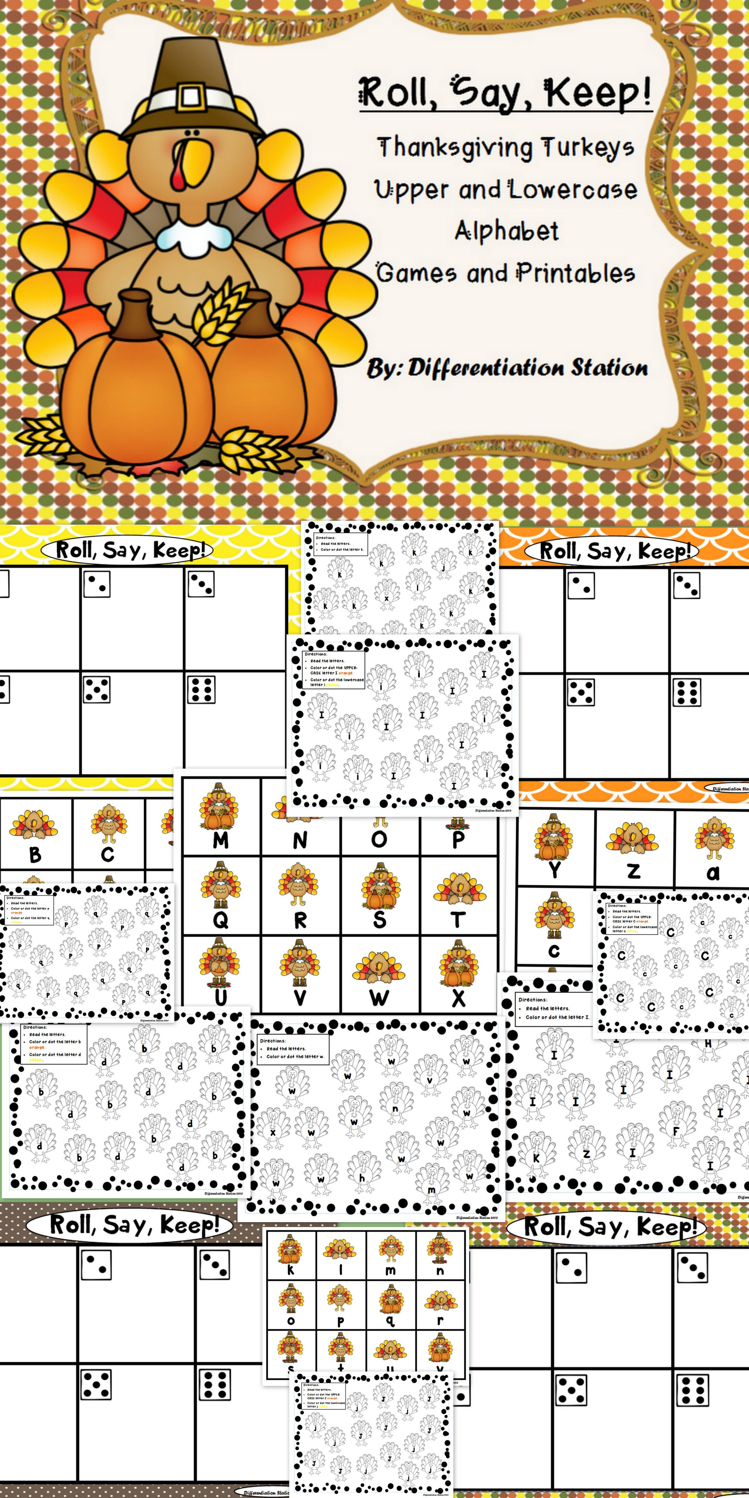 Thanksgiving Turkeys Roll Say Keep Alphabet Center Game And Printables