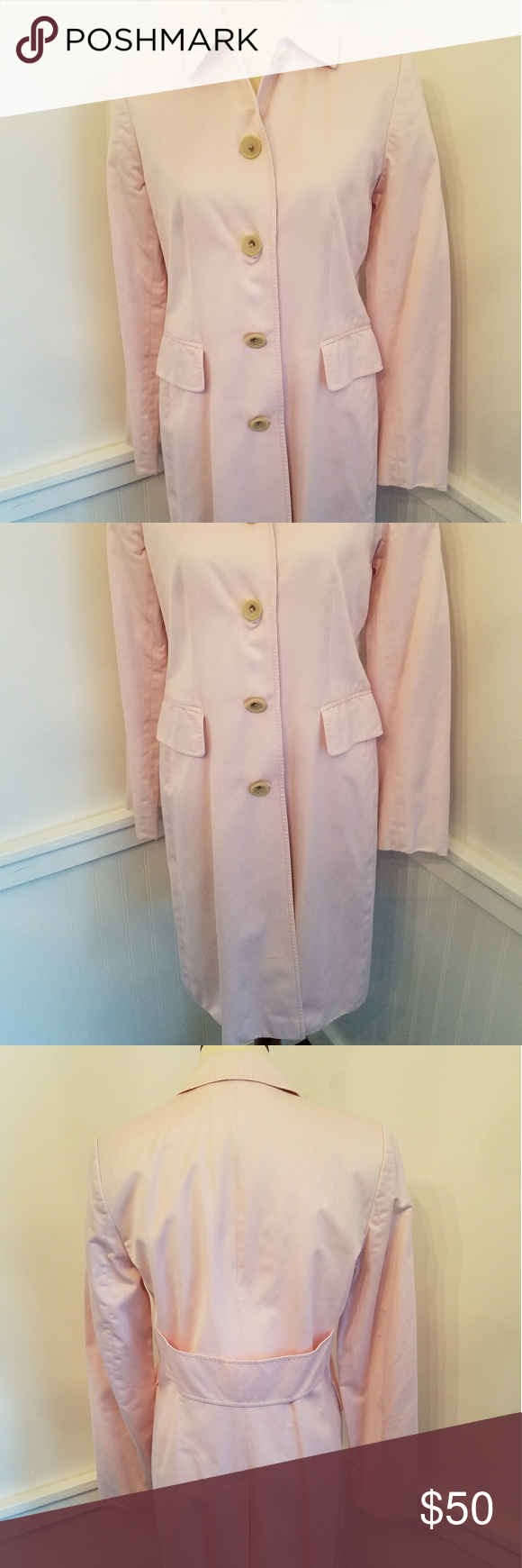 Pink dress with pink jacket  Banana Republic Trench coat Pink cotton pink satin lined button