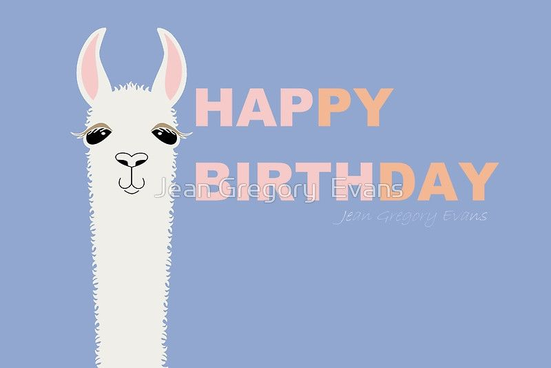 HAPPY BIRTHDAY LLAMA Greeting Card By Jean Gregory Evans