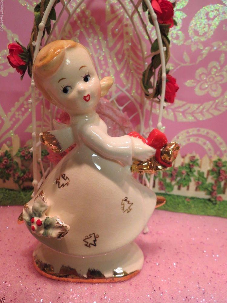 Vtg Dancing Christmas Angel Holds Gold Jingle Bells W Christmas Tree Dress CUTE