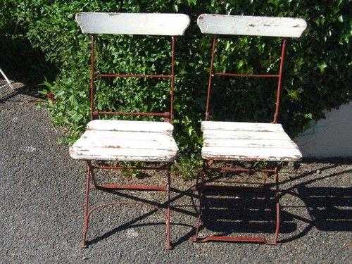 jolly pair of vintage french folding garden café patio