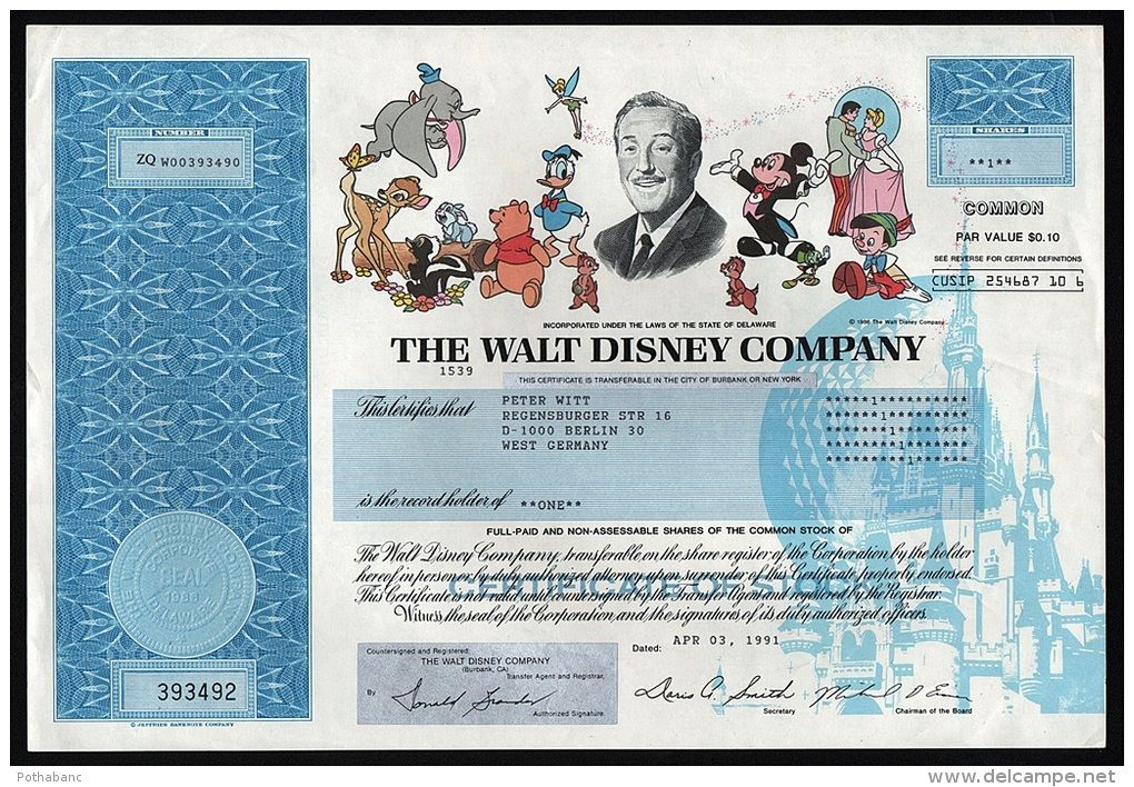 The Walt Disney Company - Authentic Stock Certificate 1991 - company share certificates